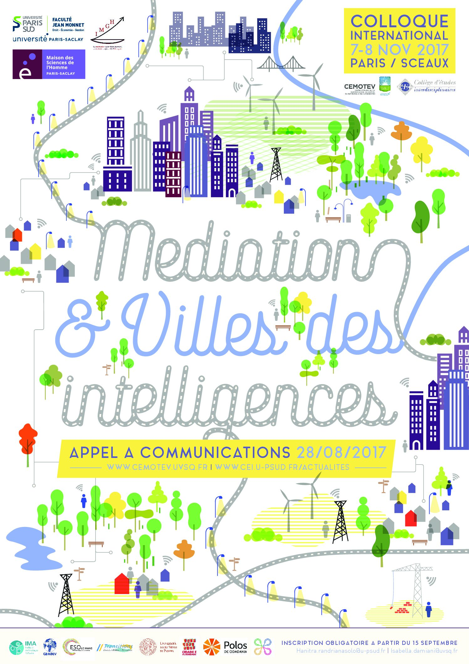 "Appel à communications  – Colloque international ""Médiation & Villes des intelligences"" – 7-8/11/2017"