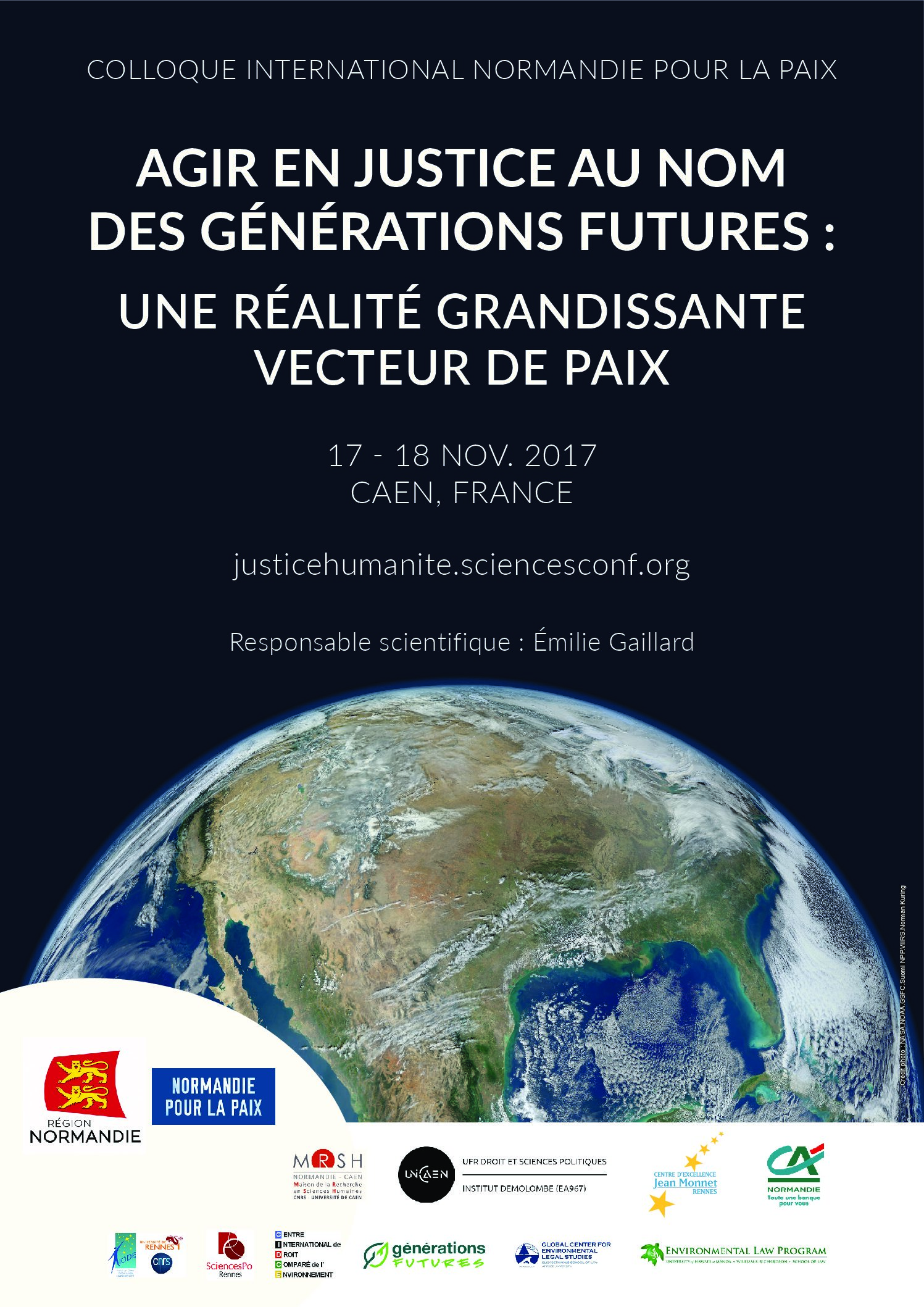 Colloque international « Agir en justice au nom des générations futures » – 17-18/11/2017