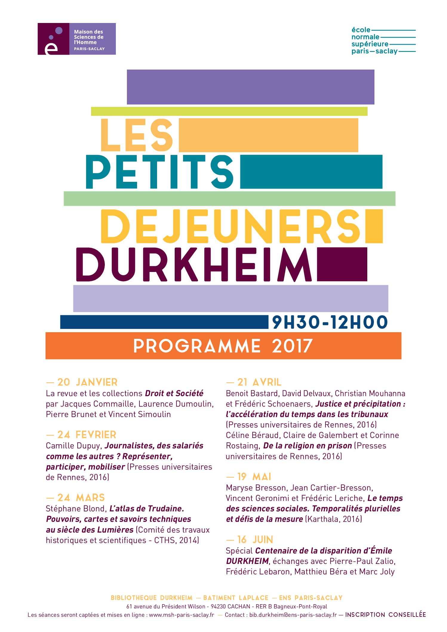 Les Petits Déjeuners Durkheim – Programme 2017