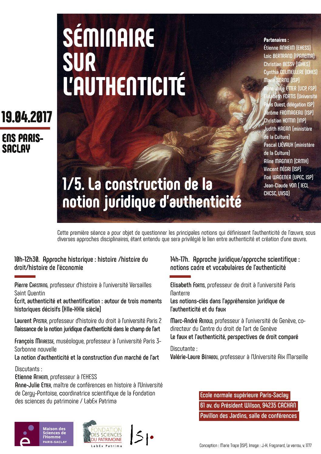 Séminaire «La construction de la notion juridique d'authenticité» – 19/04/2017