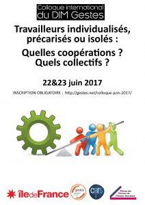 Colloque DIM Gestes : «Travailleurs individualisés, précarisés ou isolés» – 22-23/06/2017