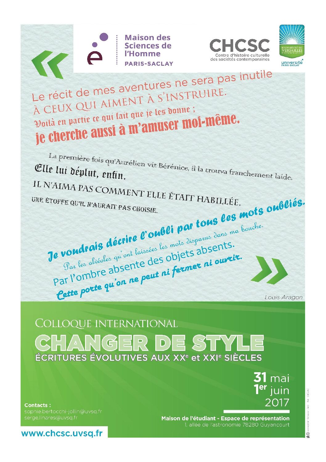 Colloque international « Changer de style » – 31/05-01/06/2017