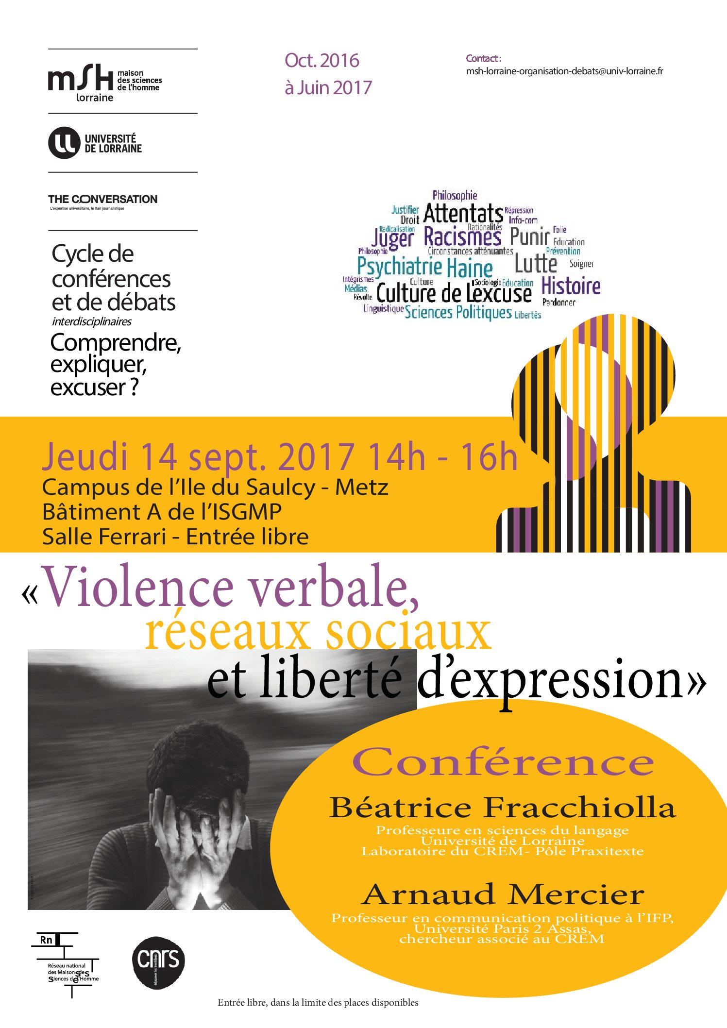 Conférence «Violence verbale, réseaux sociaux et liberté d'expression – MSH Lorraine – 14/09/2017