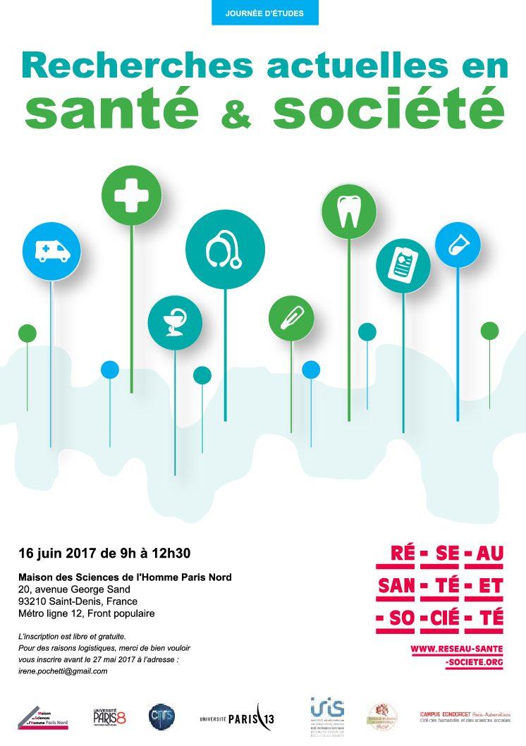 Journée d'études «Recherches actuelles en santé et société» – MSH Paris Nord – 16/06/2017