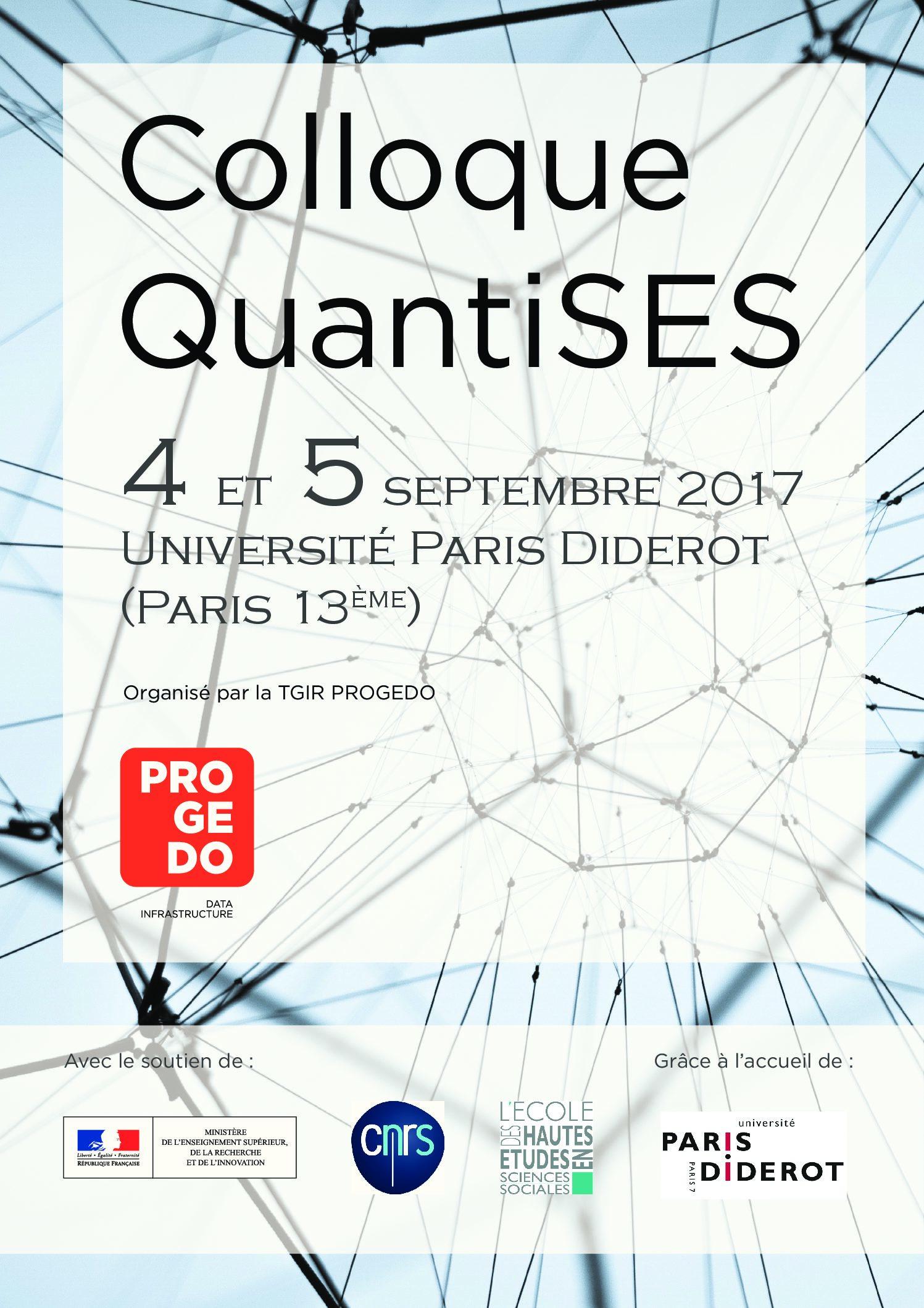 Colloque QuantiSES / PROGEDO – 4-5/09/2017