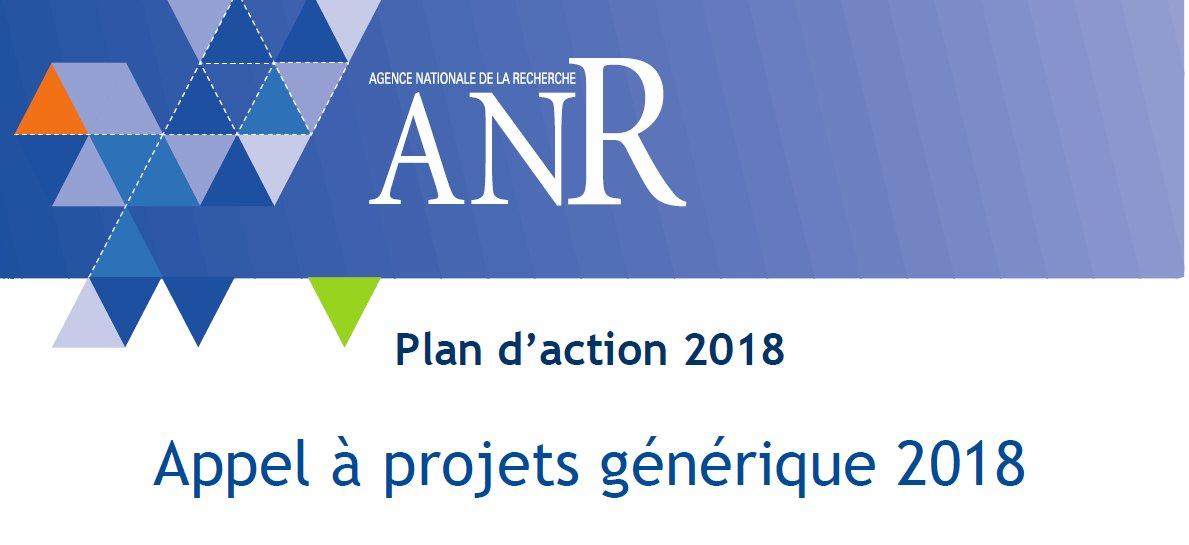 Appel à projets générique 2018 ANR – 25/10/2017