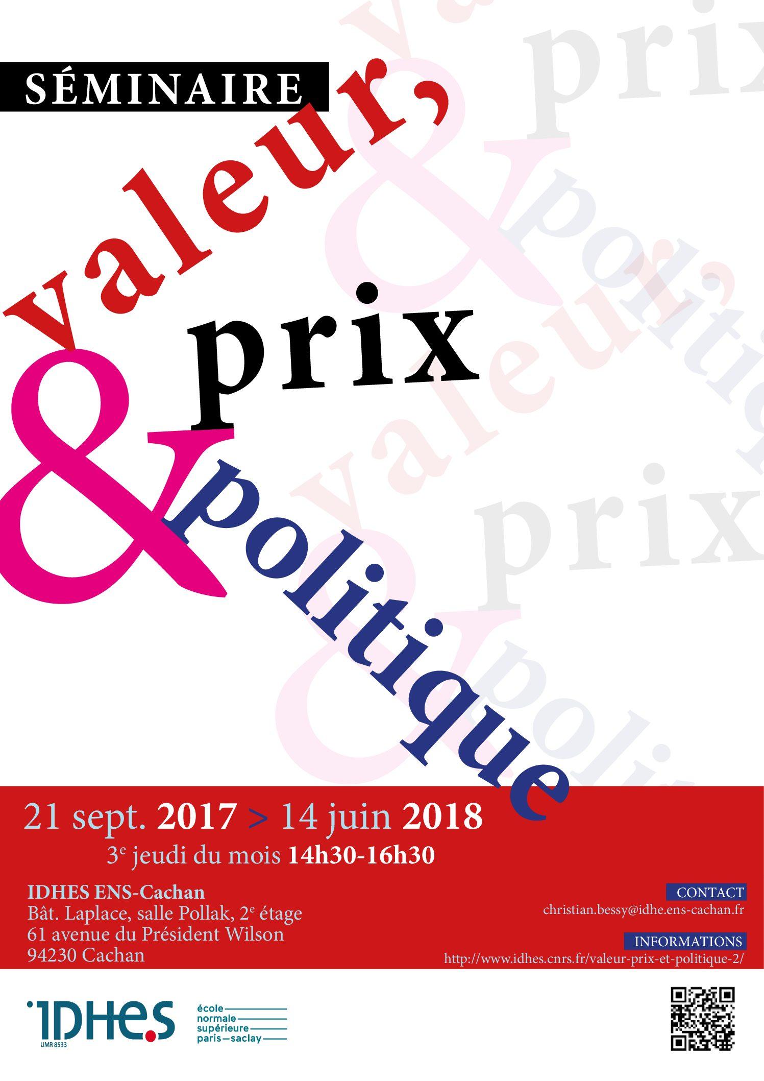 Séminaire Valeur, prix et politique – 23/11/2017