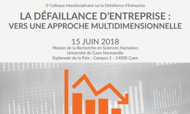 Appels à communications «La défaillance d'entreprise : vers une approche multidimensionnelle» – 15/04/2018