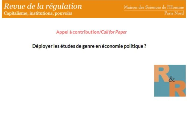 Appel à contribution «Déployer les études de genre en économie politique ?» – 16/05/2018