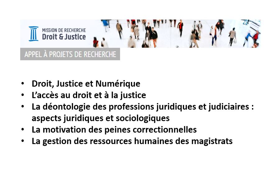 Appel  Projets Mission de recherche Droit et Justice – 14/05/2018