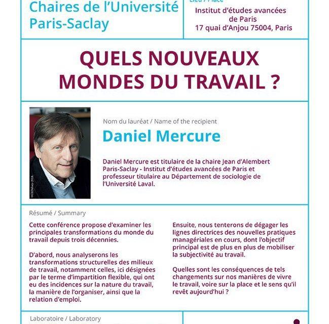 «Quels nouveaux mondes du travail ?» – Leçon inaugurale – Chaires de l'Université Paris-Saclay – 8/06/2018