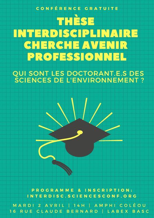 Colloque «Thèse interdisciplinaire cherche avenir professionnel» – 2-4/04/2019