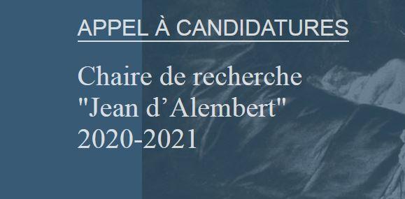 Appel à candidatures pour la Chaire de recherche «Jean d'Alembert» Paris-Saclay – IEA de Paris 2020-2021 – 3/6/2019