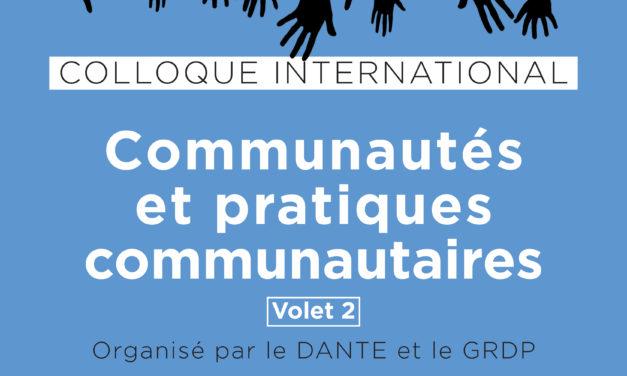 Colloque « Communautés et pratiques communautaires » – volet 2 – 11/10/2019