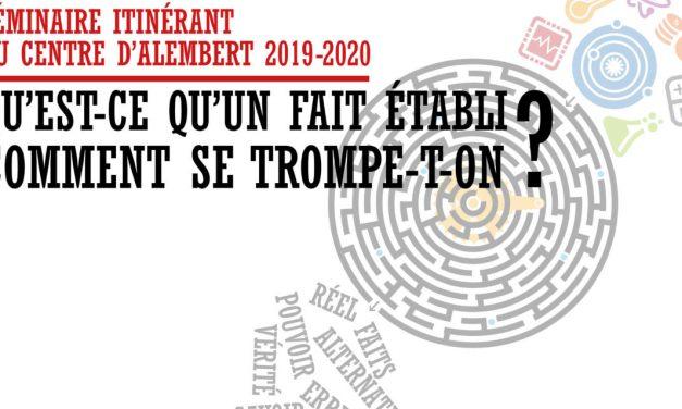 Séminaire du Centre d'Alembert – Comment établit-on un fait en physique ? – 19/01/2021