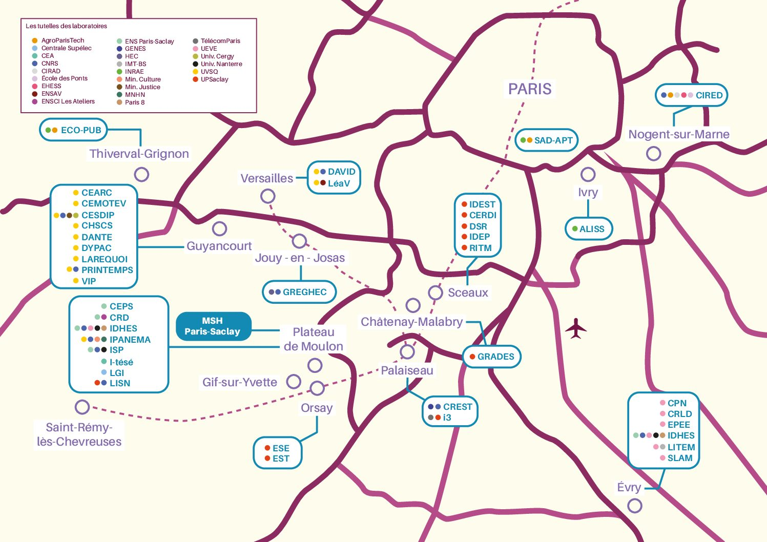 Cartographie des Laboratoires du périmètre Paris-Saclay