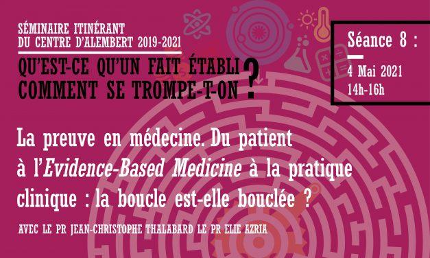 Séminaire du Centre d'Alembert – Qu'est-ce qu'un fait établi ? La preuve en médecine – 4/05/2021