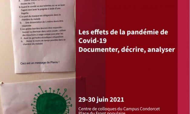 Rencontre scientifique : Les effets de la pandémie de Covid-19. Documenter, décrire, analyser